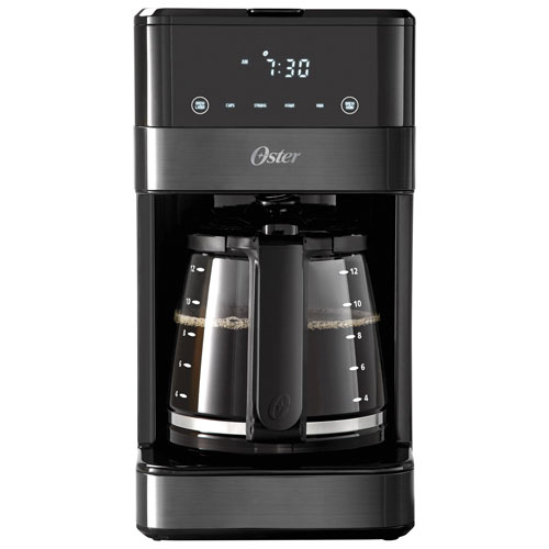 Oster 12-Cup Programmable Coffee Maker with Touch Display - Black Stainless Steel