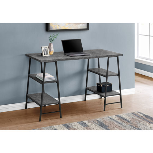 "Monarch 47.25""W Computer Desk with 4 Shelves - Stone/Black"