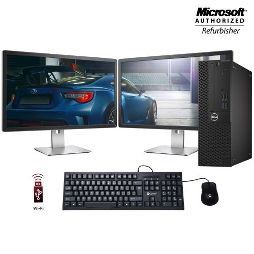 A Grade Dell Optiplex 3050 SFF Ordinateur PC with Dual 24 inch Monitor Intel i5 7500 8GB RAM Nouveau 256GB SSD Windows 10 Professionnel WiFi HDMI Gam