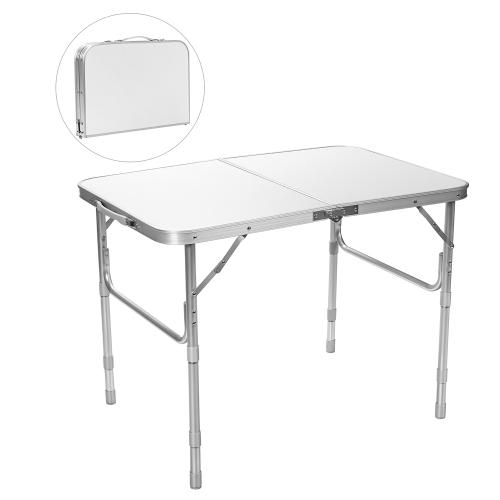 Costway Table de Camping Pliante Réglable en Aluminium pour Intérieur Extérieur