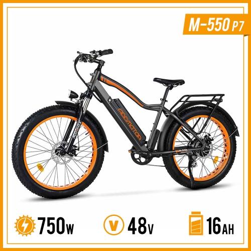 "750W 48V 16Ah Electric Mountain Bike, 26"" Fat Tire Mountain Commute Sport City E-Bike for Adults Men, Addmotor M-550 P7, Grey"