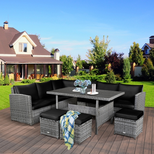 Costway 7 PCS Patio Rattan Dining Set Sectional Sofa Couch Ottoman Garden