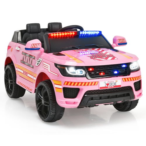 Costway 12V Kids Police Ride On Car RC Electric Truck w/LED Lights & Siren Pink