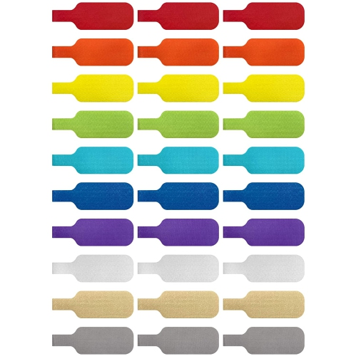 Cable Labels by Wrap-It Storage, Medium, Multi-Color Write On Cord Labels, Wire Labels, Cable Tags and Wire Tags for Cable Management and Identificat
