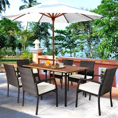 7PCS Ensemble de salle à manger de patio Ensemble de mobiliers d'extérieur avec 6 fauteuils avec trou pour parasol Gymax