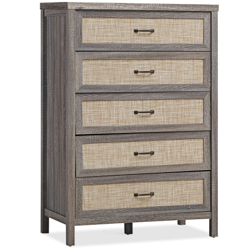Gymax Chest of Drawers Rustic 5 Drawer Dresser Storage Freestanding Cabinet
