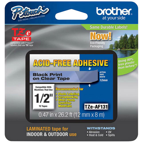 Brother P-Touch 12mm Black on Clear Acid-Free Tape