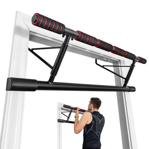 Gymax Foldable Pull Up Bar Doorway Chin Up Bar No Screw W/Foam Grip for Home Gym