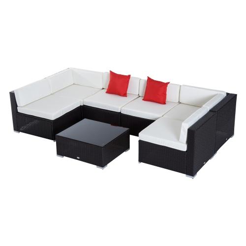 Outsunny 7 Pieces Garden Wicker Sectional Sofa Set Patio Outdoor Furniture