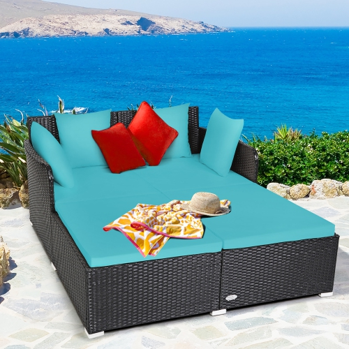 Costway Outdoor Patio Rattan Daybed Pillows Cushioned Sofa Furniture