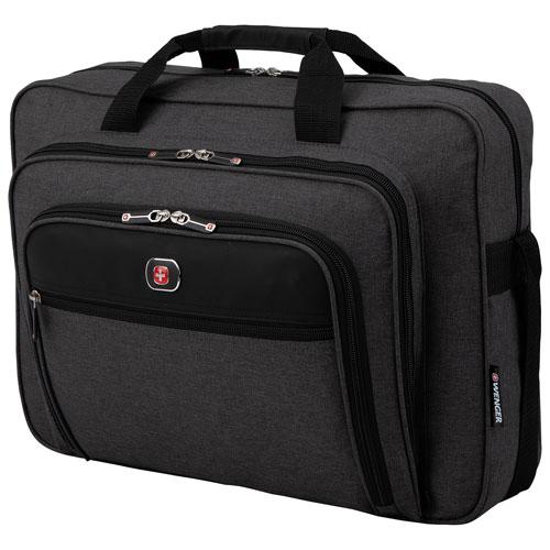 "Wenger Textured Fabric 17.3"" Business Laptop Bag - Grey/Black"