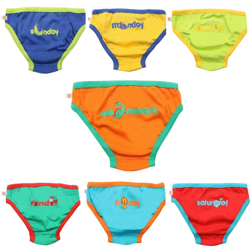 Zoocchini Organic Cotton Days of the Week Briefs - Set of 7 - Size 2-3T