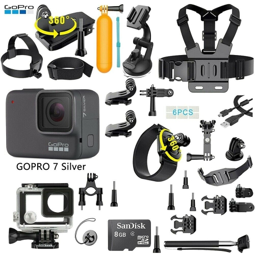 GoPro HERO7 Silver Waterproof Digital Action Camera with Touch Screen + 35-In-1 Action Camera Accessory Kit, Refurbished