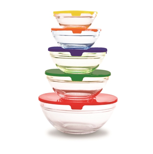 Farberware 5-Glass Bowl Set with Lids - Multi