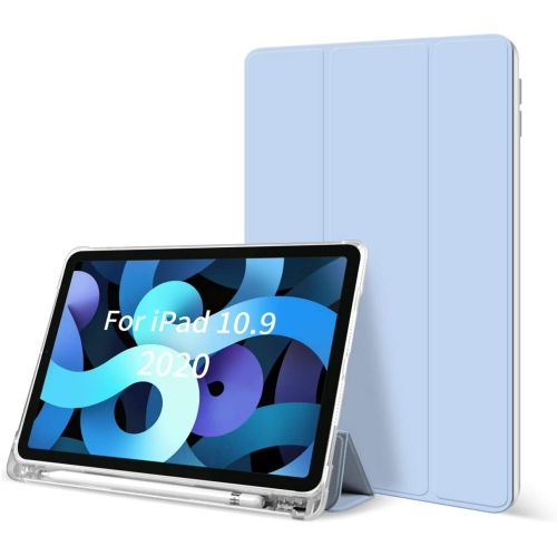 HOCO iPad Air 4 case 10.9 Inch with Pencil Holder Soft TPU Back Smart Cover Lightweight Trifold Stand Shell Auto Wake/Sleep Protective Case for iPad