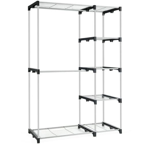 Gymax Freestanding Clothes Garment Organizer Closet Rack w/5 Shelves &2 Hanging Rods