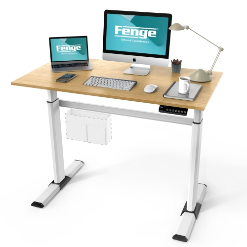 Fenge Electric Standing Desk with 4 Programmable Memory Presets Hight Adjustable Computer Desk for Home Office Use, Ergonomic Sit Stand Table Oak