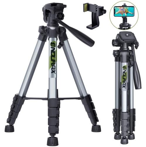 """Endurax 66"""" Caméra vidéo Trépied pour Canon Nikon en aluminium léger Voyage Stand appareil photo reflex numérique avec Universal Phone Holder et Carr"""