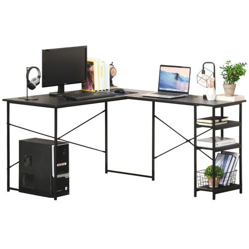 HOMCOM L-Shaped Home Office Desk Corner PC Table Computer Workstation with Storage Shelf, Cord Holes, Black