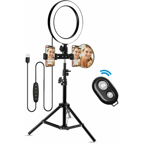 Morpilot 10 Inch Selfie LED Ring Light with Tripod Stand, 2 Phone Holders - Open Box