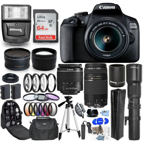 Ensemble EOS 2000D de Canon avec objectif EF-S 18 mm III 9 - version américaine avec garantie du vendeur