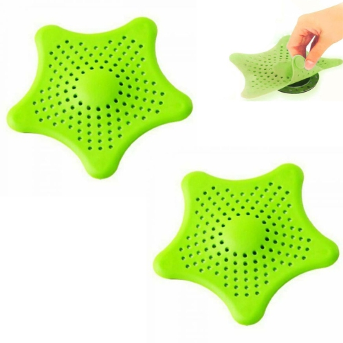 Silicone Star Shaped Sink Filter Bathroom Hair Catcher, Drain Strainers Cover Trap Basin Sink Plug For Wash Basin Standard Light Green