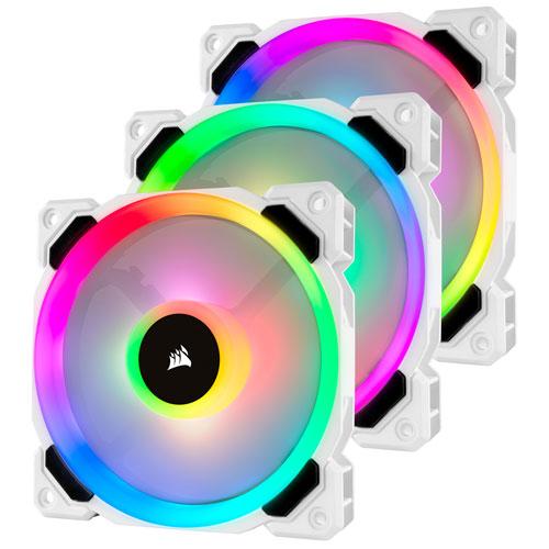 Corsair LL120 RGB LED PWM 120mm Triple Case Fan Kit - White