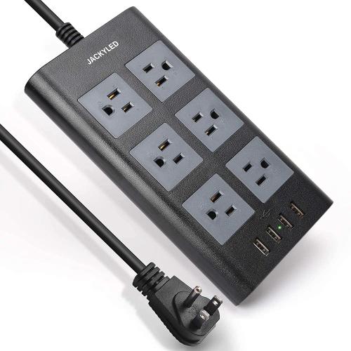 Protecteur de surtension de barre d'alimentation 9.8FT, multiprise JACKYLED 3600W / 15A à large espacement avec 6 prises CA et 4 ports USB intelligen