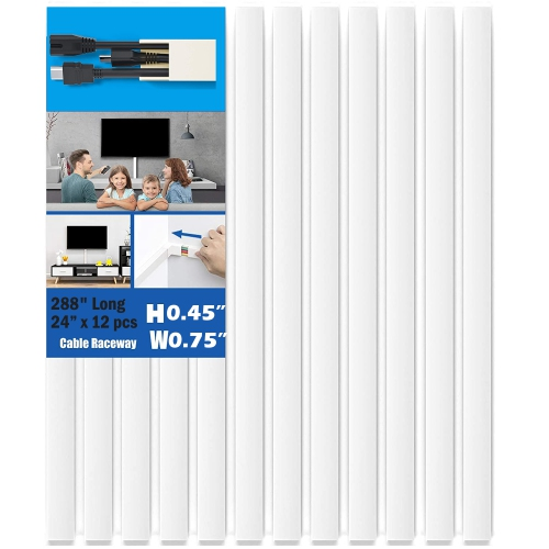 """HYFAI Cable Concealer 288"""" Cord Cover Cable Management Raceway Hiding Wires in Home and Office 12 X L24""""XW0.75""""XH0.45"""" White"""