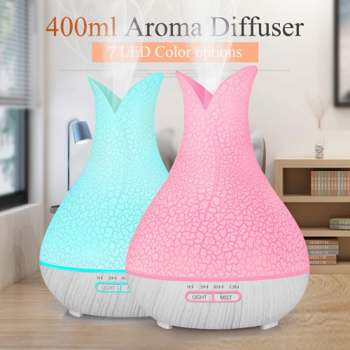 Remote Control 400ML Essential Oil Diffuser Ultrasonic Aromatherapy Large Room Quiet Humidifiers Wood Grain Cool Mist Aroma Diffuser for Home Office