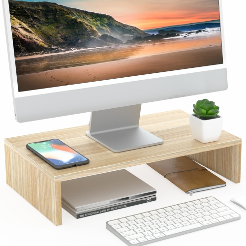 FITUEYES Computer Monitor Stand 16.7 inch Laptop Stand Save Space Desktop Orgaznier Shelf for Home Office Use, Oak DT104201WO