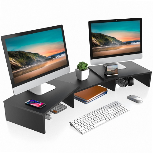 FITUEYES Dual Monitor Stand Length and Angle Adjustable Laptop Stand Desktop Organizer for Home Office and School Use, Black DT108001WB