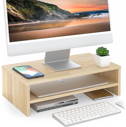 FITUEYES 2 Tiers Monitor Riser Stand with Storage Shelf Wood Laptop/Printer Stand for Home Office Use, Ergonomic Stand, Oak DT204201WO