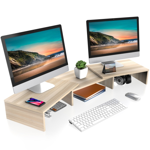 FITUEYES Dual Monitor Stand Riser, 3 Shelf Swivel Length and Angle Adjustable Desktop Organizer Stand for Home Office and School Use, Oak DT108006WO