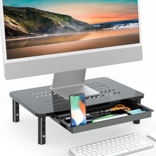 FITUEYES Monitor Stand Riser with Drawer, 3 Height Adjustable Computer Laptop or Printer Stand with Mesh Shelf for Airflow DT115901MB
