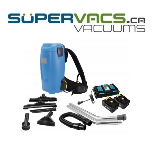 Johnny Vac JVBP6B 2-Speed Battery Powered Backpack Vacuum - Capacity of 1.58 gal - HEPA Filtration - with Accessories and Superior Quality Harness