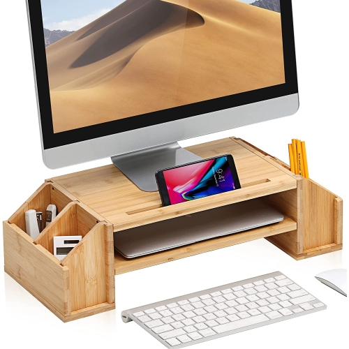 WELL WENG Bamboo Monitor Stand Riser, Desktop Laptop Stand with Adjustable Storage Shelf & Phone Holder Slot Home Office Desk Organizer