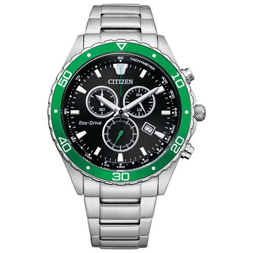 Montre sport de 43 mm avec chronographe pour hommes Eco-Drive Brycen de Citizen - Argenté/Vert/Noir