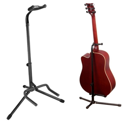 Support de guitare trépied pliable avec sangle de sécurité - Support pour guitare acoustique/électrique/classique, basse, noir