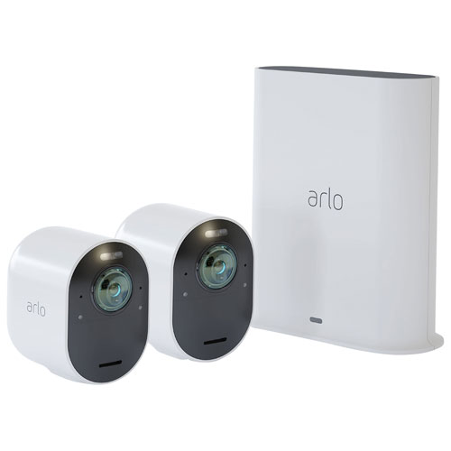 Arlo Ultra 2 Wire-Free Outdoor 4K UHD IP Security System with 2 Cameras - White