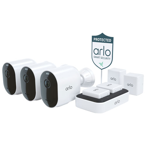 Arlo Pro 4 Wire-Free Outdoor 2K HD Camera Security Bundle - White - 3-Pack