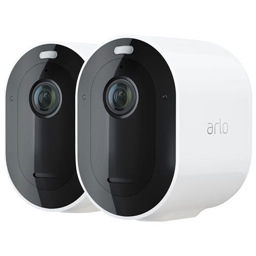 Arlo Pro 4 Wire-Free Outdoor 2K HD Security Camera - White - 2-Pack