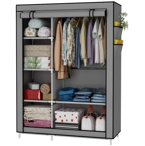 Closet Organizer Wardrobe Clothes Storage Shelves, No-Woven Fabric Cover with Side Pockets,41.3 x 17.7 x 66.9 inches, Grey