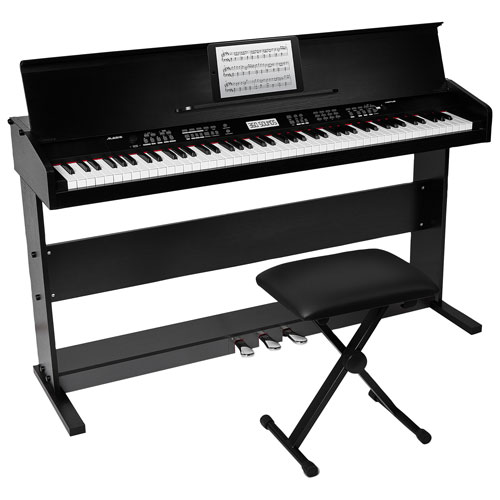 Alesis Virtue 88-Key Electric Keyboard with Stand & Bench - Black
