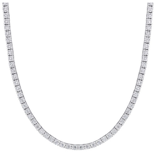 """Amour White Created-Moissanite Tennis Necklace on 17"""" Sterling Silver Chain"""