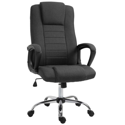 Vinsetto High Back Office Chair 360° Swivel Chair Adjustable Height Tilt Function Linen Black Grey