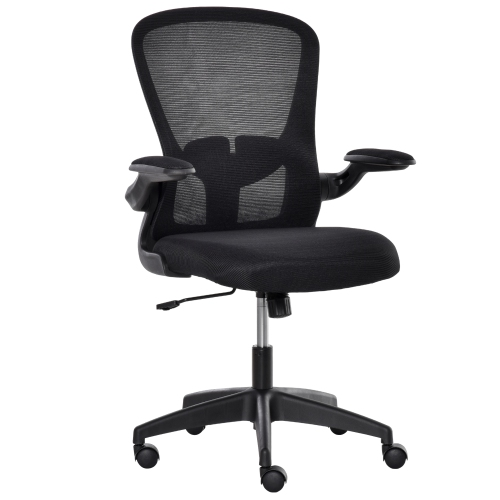 Vinsetto Mesh Office Chair Swivel Task Desk Chair with Lumbar Back Support, Adjustable Height, Flip-Up Arm, Black