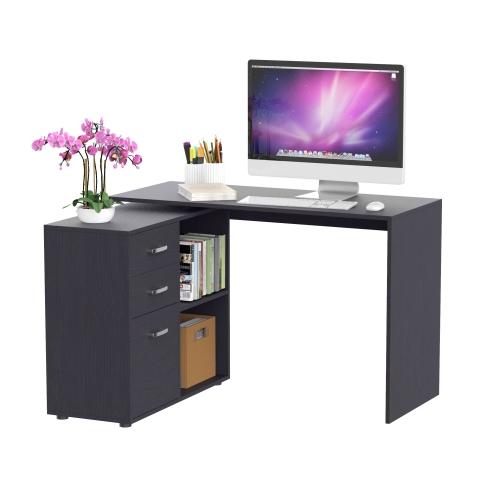 HOMCOM L-Shaped Corner Straight Writing Desk with Storage Shelf, Drawer, Home Office PC Table Computer Workstation, Black