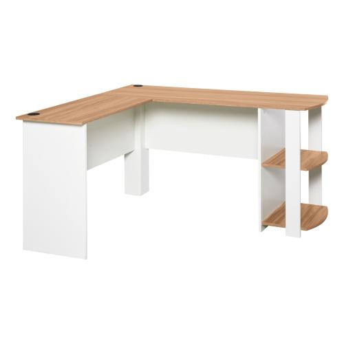 HOMCOM L-Shaped Corner Computer Desk Wood PC Workstation Laptop Table with 2 Storage Shelves Space Saving Home Office Walnut Brown