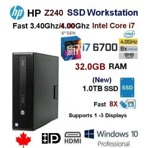 HP i7-6700 Z240 SSD Workstation PC(Fast 3.40Ghz@4.00Ghz i7-6700)32GB Ram/Fast-Refurb